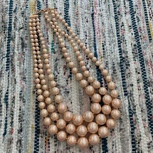 3 strand pink cream pearl neck lace